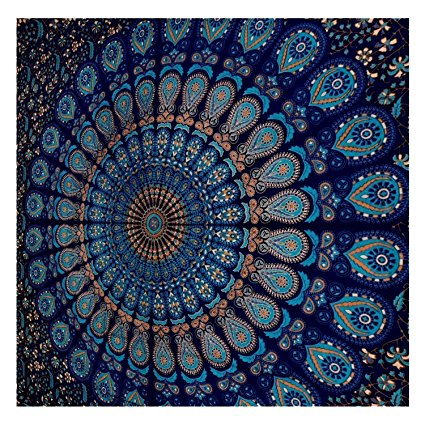 Blue Tapestry Wall Hanging Mandala Tapestries Indian Cotton ...